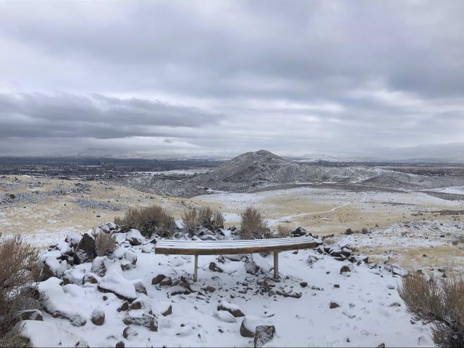 Snowfall in the Huffaker Hills on Saturday, Jan. 23, 2021.