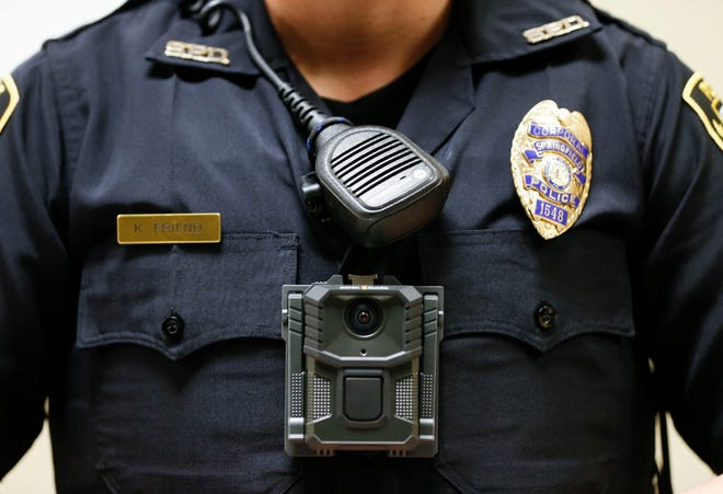 New body cameras, like the one demonstrated by Springfield Police Corporal Kaylee Friend in January, will be worn by officers working on the Missouri State University campus.