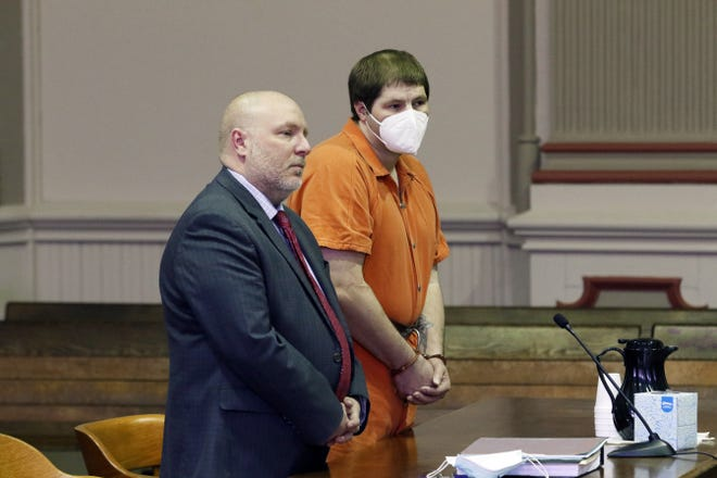 Elijah Waltz was sentenced to 70 years in prison on Monday in Muskingum County Common Pleas Court for his role in the prolonged torture of two children. He is pictured with his attorney Keith Edwards.