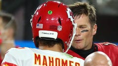 Chiefs quarterback Patrick Mahomes meets with Tampa Bay quarterback Tom Brady following their 2020 regular-season game, which the Chiefs won.