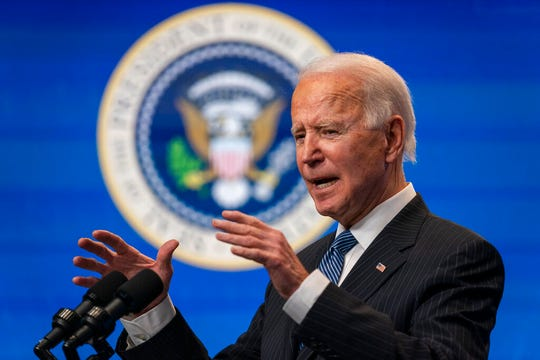 President Joe Biden speaks during an event on American manufacturing, in the South Court Auditorium on the White House complex, Monday, Jan. 25, 2021, in Washington.