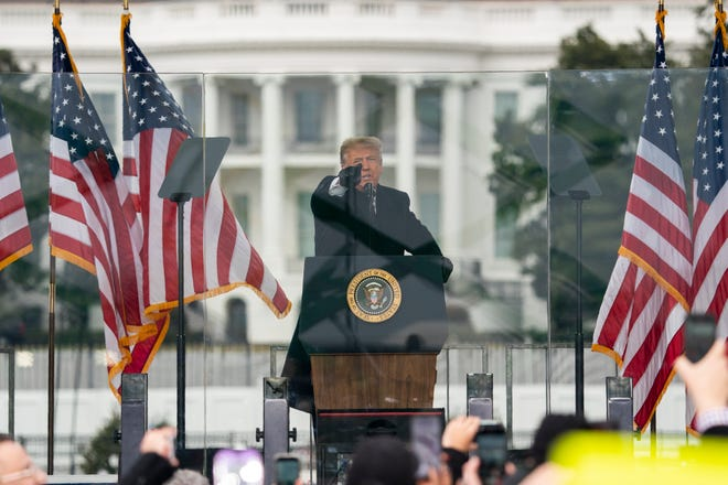 President Trump speaks during a rally protesting the electoral college certification of Joe Biden as President in Washington on Jan. 6, 2021. He was impeached a second time in the U.S. House of Representatives on Jan. 13, 2021, on the charge of inciting insurrection. A trial in the Senate is scheduled for February.