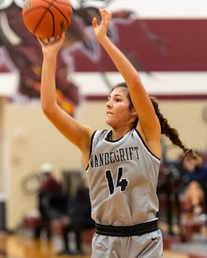 Sophia Griego, taking a shot against Round Rock in December, would like to play college basketball after she graduates in 2022. She is a big Florida Gators fan.