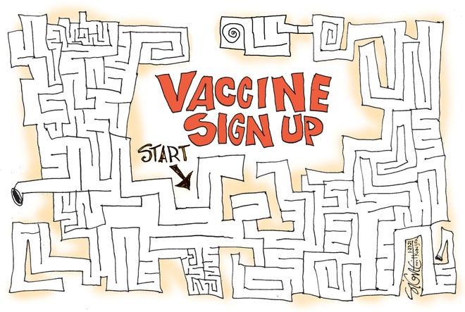Signe cartoonVaccine Maze