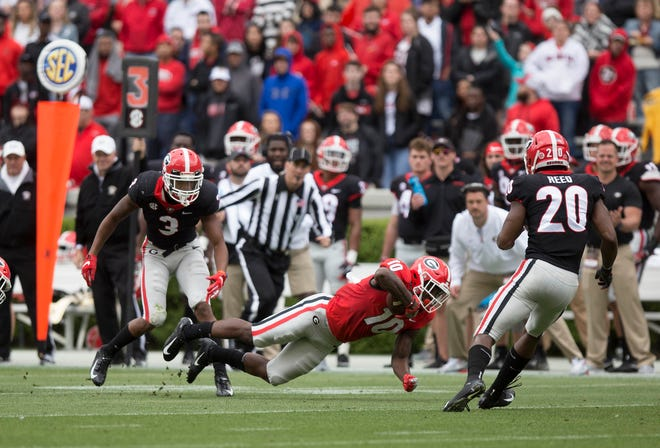 Scenes from the first half of the spring G-Day game at the University of Georgia in Athens, Ga., on Saturday, April 20, 2019. [Photo/ Jenn Finch, The Athens Banner-Herald]