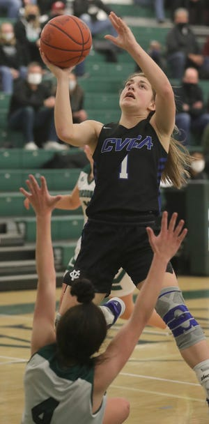 CVCA sophomore Gia Casalinova scored 30 points to lead the Royals to a 62-54 win over Nordonia on Monday night but she focuses on the other things that help her team win. [Phil Masturzo/Beacon Journal]