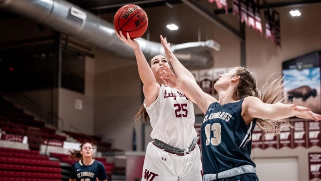 WT's Madison Kasthad a career-high 12 points on 5-of-7 shooting with two of those coming behind the arc during the Lady Buffs' Monday night 77-42 win over St. Edwards.