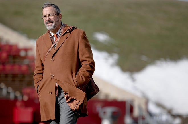 Texas Athletics Director Chris Del Conte walks the field before an NCAA college football game against Iowa State on Saturday, Nov. 16, 2019, in Ames, Iowa. [NICK WAGNER/AMERICAN-STATESMAN]