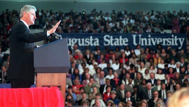 President Bill Clinton speaks at Augusta State University in 1997.