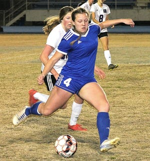 DeRidder senior defender Melanie Cardy (4), seen here against South Beauregard, was one of several Lady Dragons who combined to allow only one shot from Leesville on Monday in a win over the Lady Cats, 8-0.