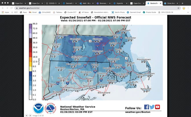 Snow total map issued Tuesday, Jan. 26