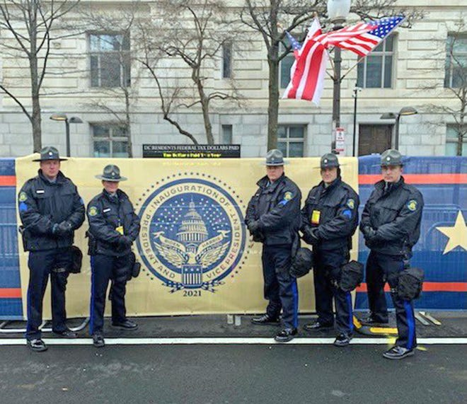 From left, Missouri State Highway Patrol Sgt. James Lowary, Trooper Caty McKinney, Sgt. Christopher Daniels, Cpl. Robert Sanders and Trooper Grant Ayres were among many law enforcement officers who aided Washington metro police with security Jan. 20 for the inauguration of President Joe Biden.
