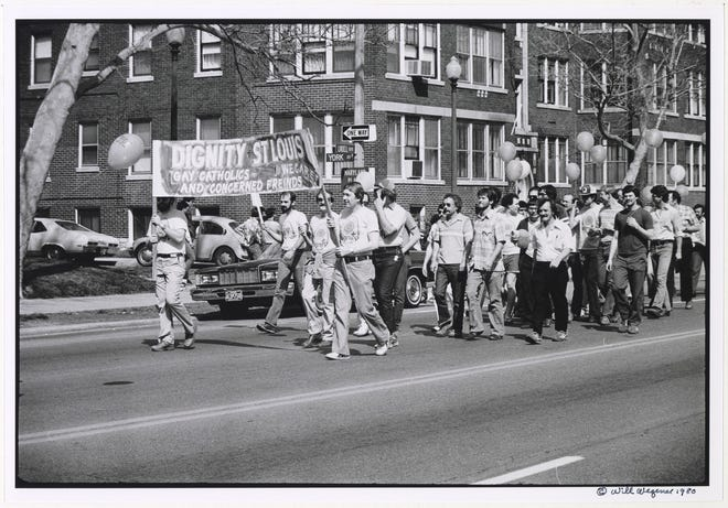 Marchers from Dignity St. Louis participate in the first St. Louis Pride walk and march in 1980