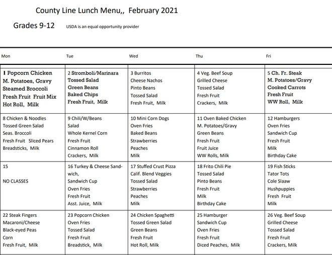 County Line lunch menu, February 2021