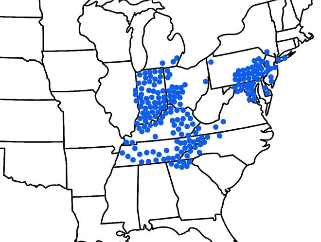 A map showing where Brood X periodical cicadas are expected to emerge in spring 2021.
