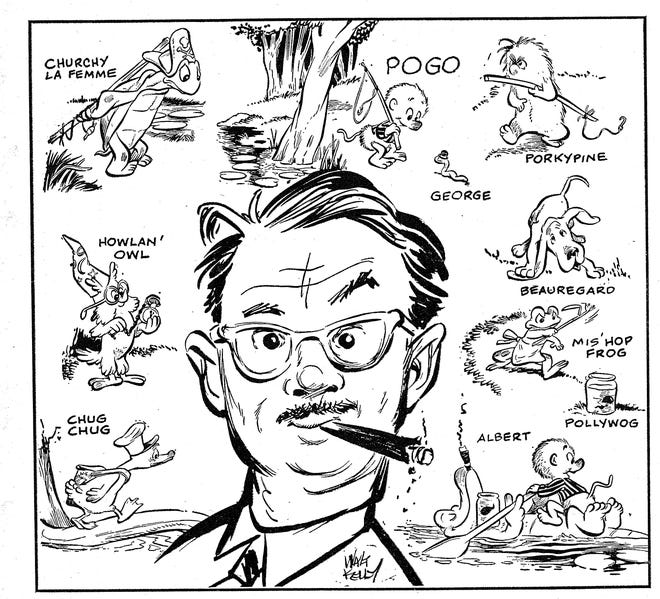 Self-portrait of cartoonist Walt Kelly among Pogo and friends (1949)