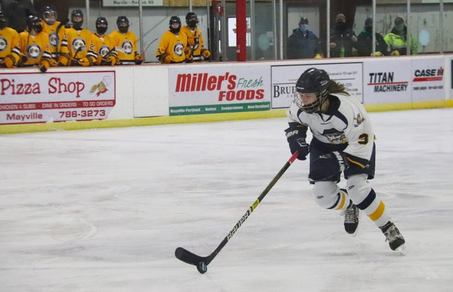 Brekken Tull in a game against Fargo North-South in Mayville, N.D. on Jan. 25. Tull scored the opening goal in Crookston's game at Thief River Falls Thursday, but Crookston lost 3-1.