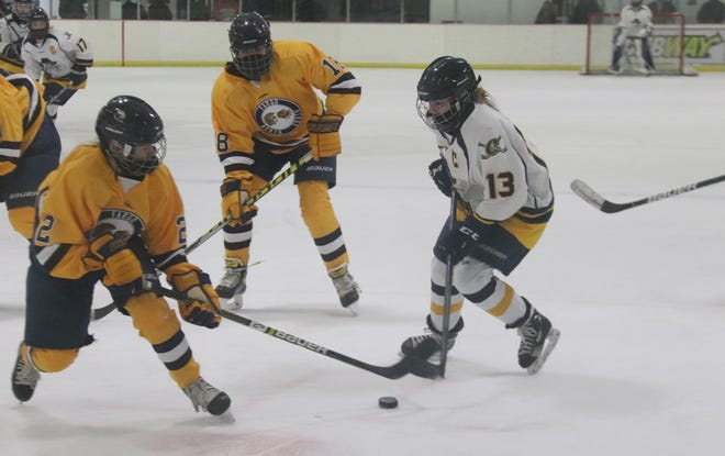 Catherine Tiedemann in Crookston's game against Fargo North-South on Jan. 25. Tiedemann had a hat trick in the Pirates' 7-4 win over Bemidji Tuesday.