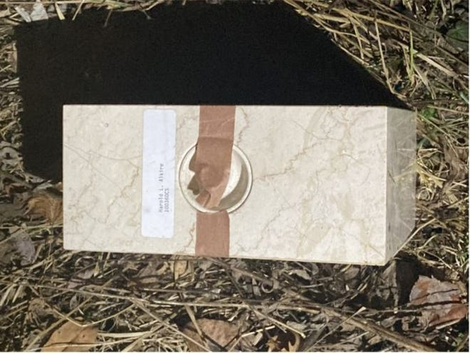 This urn containing the remains of Harold Alkire was found in a wooded area near Sylvan Road in Wooster. The urn was stolen from a storage unit in Orrville a month or two ago, according to the Wayne County Sheriff's Office.