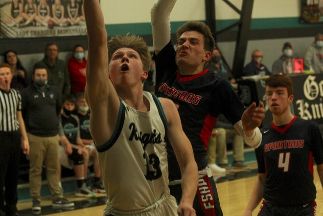 Dakota Prairie boys basketball and Nelson County girls basketball faced off against Finley-Sharon/Hope-Page in a double header on Jan. 25 at Dakota Prairie Elementary School. The Knights lost 62-58 while the Chargers won 78-24.