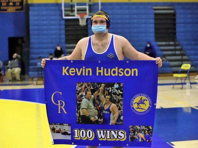 Caesar Rodney High School senior wrestler Kevin Hudson achieved his 100th career match win versus Polytech High School on Jan. 13.  =