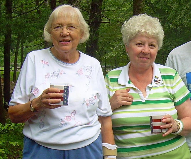 "Esther Tregler, left, of Erie, will turn 100 on Feb. 11, 2021. She is shown with  Calla Joy Rose at their ""bridge camp"" in 2006 at a Tionesta campground."
