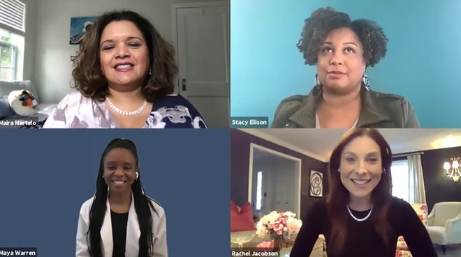 Women leaders Rachel Jacobson (clockwise from bottom right), Maya Warren and Maira Martelo participate in a virtual panel during the Generation WOW virtual leadership conference for girls. The moderator (top right) was Stacy Ellison.