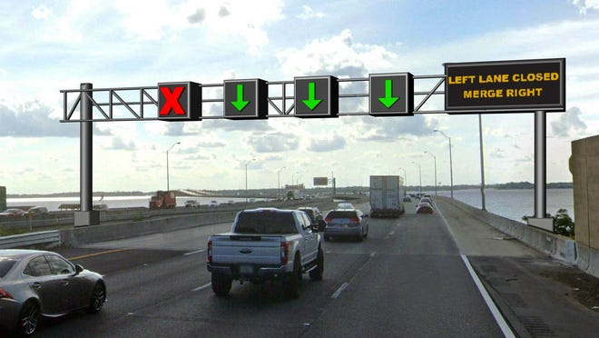 An artist's rendition of what the new overhead warning signs will look like on Interstate 295 approaching the Buckman Bridge. [Florida Department of Transportation]