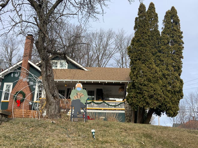 The popular Bernie Sanders internet meme now appears in the front yard of this home on Bancroft Street in Gardner.