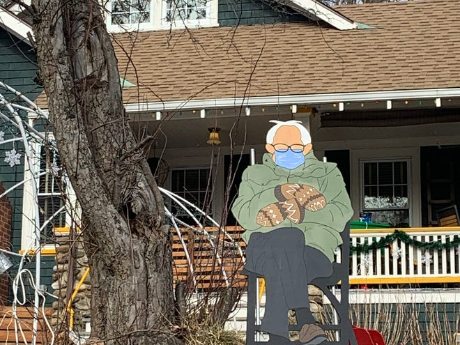 A Bancroft Street resident took the wildly popular Bernie Sanders chair-and-mittens meme from the internet and recreated it for the front yard of the Gardner home.