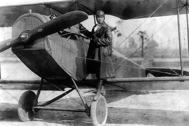 Bessie Coleman and her plane in 1922.