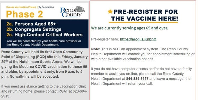 The Reno County website has a link for the COVID-19 vaccine pre-registration.