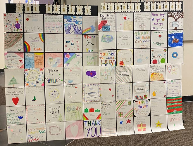 Letters from Harley School sixth graders are organized into a mural that stands in the URMC Department of Emergency Medicine.