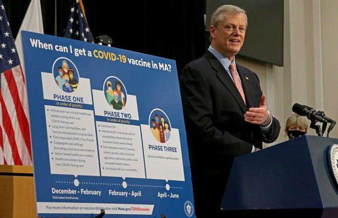 Gov. Charlie Baker speaks at the Statehouse on Monday. [Staff Photo By Matt Stone/ Boston Herald]