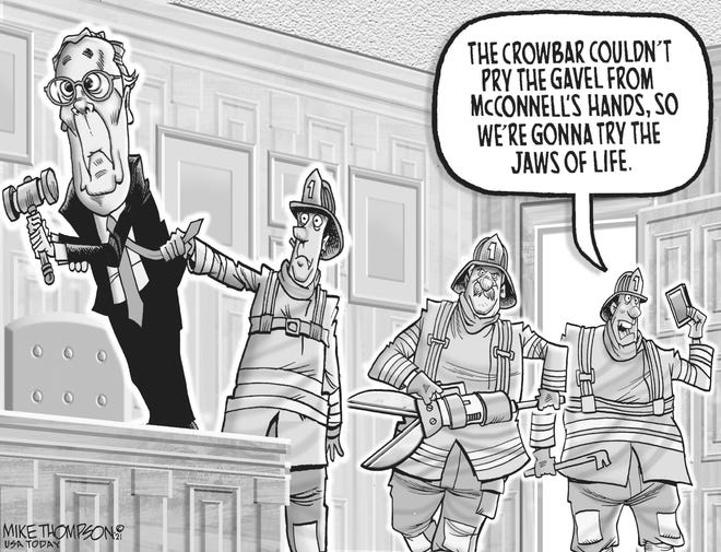 A Mike Thompson cartoon about the Senate transition
