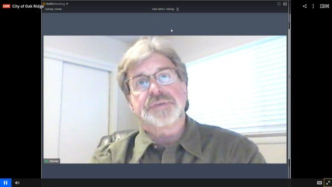 Community Development Director Wayne Blasius attends a virtual planning commission meeting.