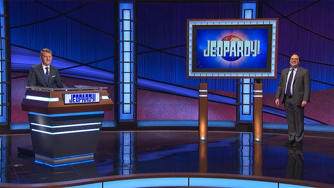 Steven Newman, right,  on Jeopardy!