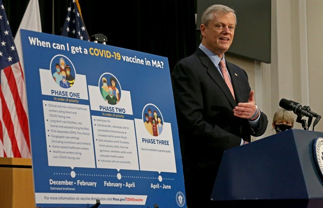 Governor Charlie Baker speaks to the media on the COVID-19 pandemic at the State House on January 25, 2021 in Boston, Massachusetts.