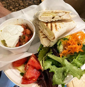 Quesadillas are back at Cafe Delamar, where they feature grilled chicken, pepperjack cheese and house-made guacamole and salsa. A mixed green salad is included.