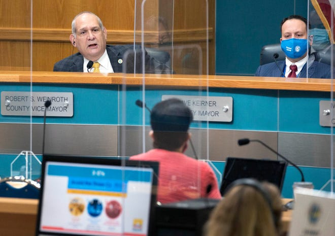 Vice Mayor Robert S. Weinroth quizzes Palm Beach County Health Director Alina Alonso as she presents COVID-19 information to commissioners during the County Commission meeting Tuesday in West Palm Beach. At right is Mayor Dave Kerner.