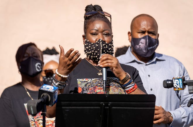"""Sybrina Fulton, mother of Trayvon Martin, speaks Tuesday during a visit to a """"Black Lives Matter"""" tribute outside the New Macedonia Missionary Baptist Church in Riviera Beach"""