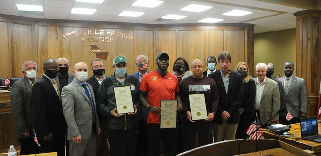 Plaquemine coach Paul Distefano, East Iberville coach Justin Joseph and White Castle coach Marc Brown accepted the honors during the Jan. 19 Iberville Parish Council meeting.