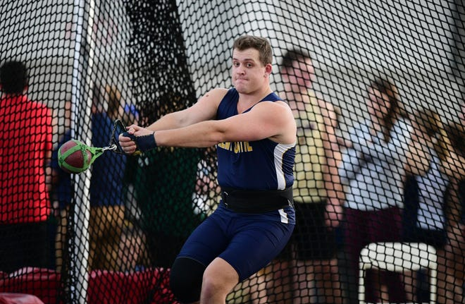 Kent State's Jake Wickey finished first in the weight throw with a heave of 72 feet, 11 inches at last Friday's Akron Tri-Meet.