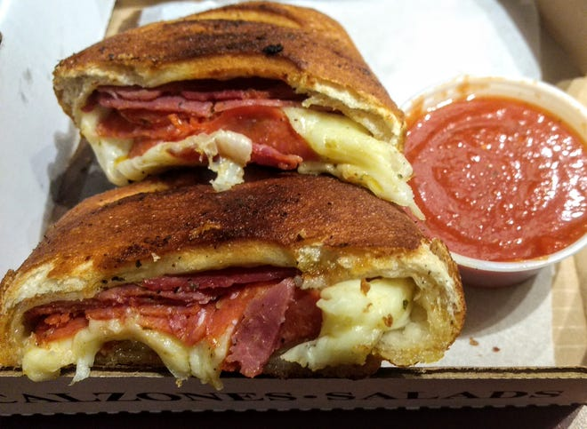 Lindsey's regular stromboli, with capicola, pepperoni and provolone, and red sauce for dipping.
