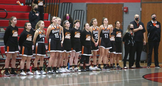 Marlington — shown before a game at Minerva, Monday, Jan. 25, 2021 — lost a heartbreaker at Poland in a Division II district title game Saturday.