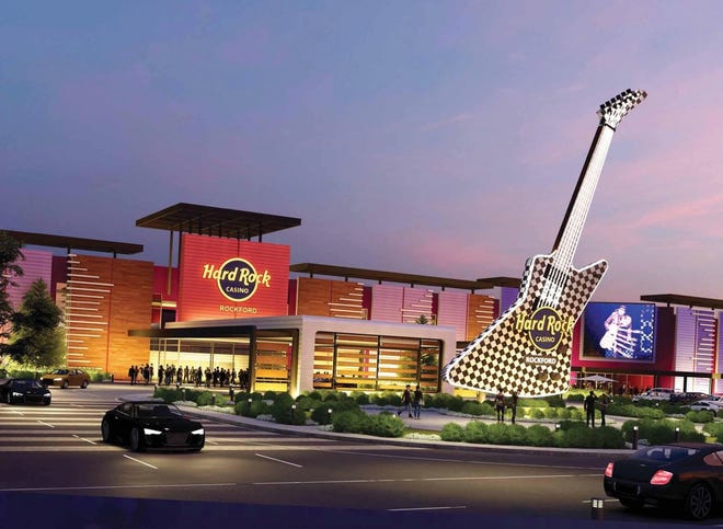 Hard Rock Casino Rockford made its case for approval Jan. 27 before the Illinois Gaming Board. This is an artist's rendering of what the complex could look like.