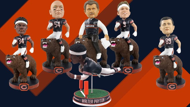 These six new releases came on out Tuesday — the 35th anniversary of the Chicago Bears last Super Bowl championship — from the National Bobblehead Hall of Fame and Museum, which is run by Guilford-graduates Phil Sklar and Brad Novak.