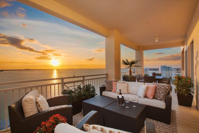 The views of water, sky and city from the terrace of the 18th floor penthouse at the Ritz-Carlton Tower Residences in Sarasota. The nearly 5,000 square-foot condominium is on the market for $5.975M.