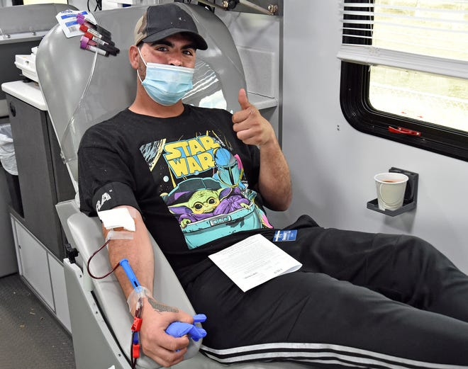 SunCoast Blood Centers had more than 30 people donate blood on Jan. 23, including Alex Bedoya, 29, of Bradenton, during a Dr. Martin Luther King Jr. Day of Service at Goodwill Manasota in Bradenton.