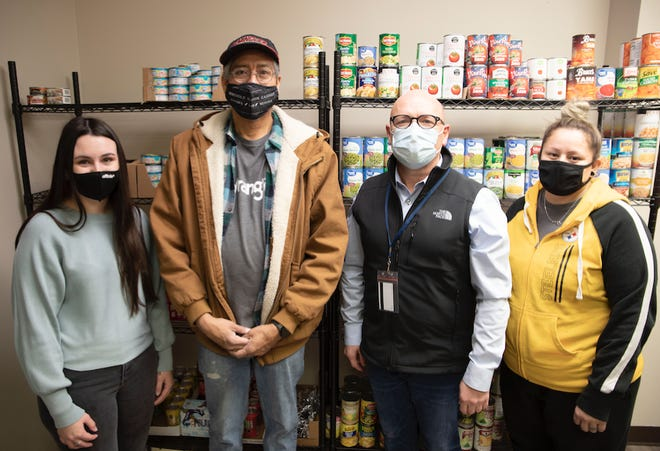 Pictured (l-r): SSC student Hannah Potter of Seminole, who works as a volunteer at the pantry, is pictured with Wrangler/Kontoor employee Ruben Culley, SSC Regent and Fulfillment Center Director at Wrangler/Kontoor Ray McQuiston and Wrangler/Kontoor employee Alice Whitaker.